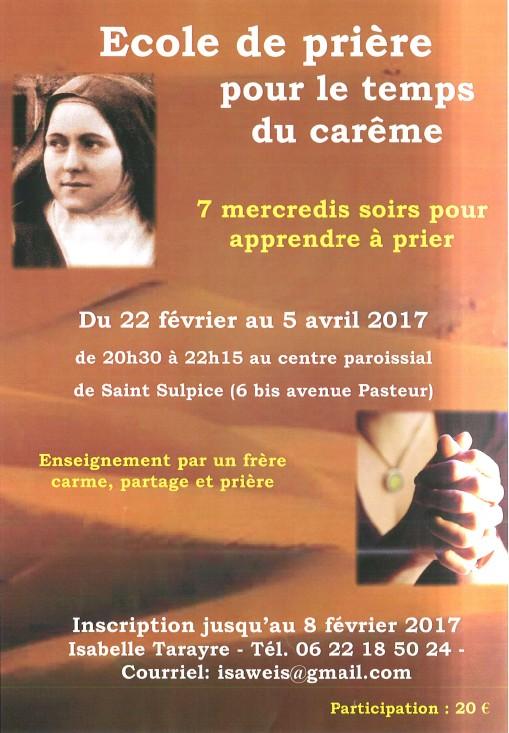 Ecole priere careme Saint-Sulpice