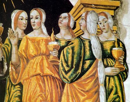 Les vierges sages sont éveillées et debout, tiennent leurs lampes allumées. Leurs robes ont de riches coloris, jaune, vert bronze ou vert d'eau.