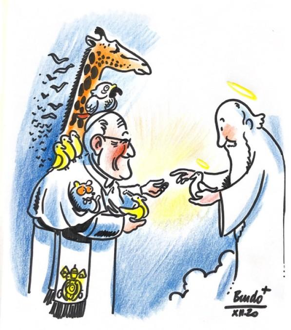 Le Pape François et la création devant le Seigneur. Dessin de Bendo