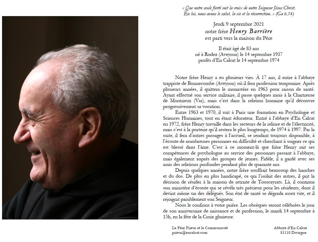 Avis de deces de Frere Henry Barrière, à En Calcat