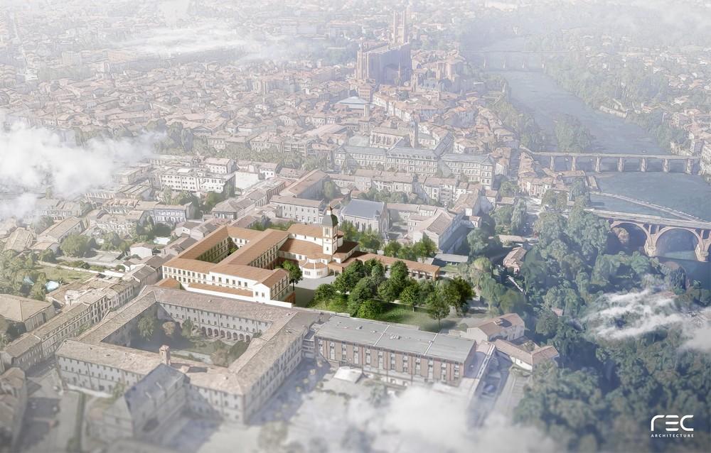 Vue aérienne de la Maison Saint-Amarand, insérée dans la ville d'Albi
